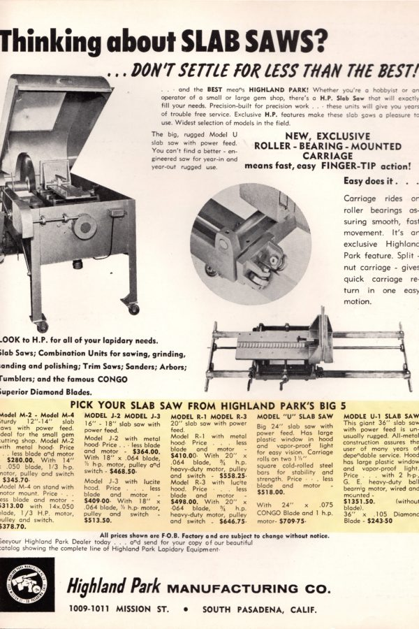 Classic Lapidary Equipment Advertisements | Tucson Lapidary